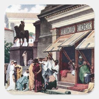 A Roman Street Scene Square Sticker