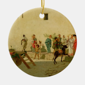 A Roman Street Scene with Musicians and a Performi Ceramic Ornament