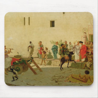 A Roman Street Scene with Musicians and a Performi Mouse Pad