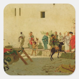 A Roman Street Scene with Musicians and a Performi Square Sticker