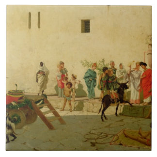 A Roman Street Scene with Musicians and a Performi Ceramic Tiles