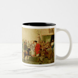 A Roman Street Scene with Musicians and a Performi Two-Tone Coffee Mug