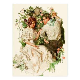 A Romantic Meeting in the Rose Garden Postcard
