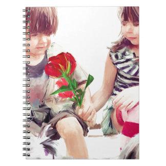 a rose a puppy and a kiss spiral notebook