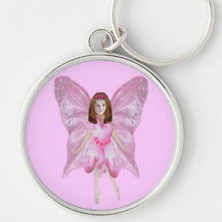 A Rose Fairy Silver-Colored Round Keychain