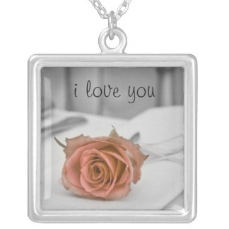 A rose for you, the one I love Silver Plated Necklace