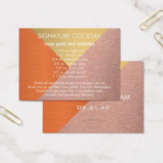 A Rose Gold Copper Signature Wedding Drink Recipe Business Card
