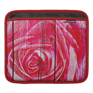 A rose image on a grungy wood panel sleeve for iPads