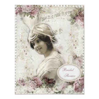 A Rose is a Rose Vintage Beauty Bridal Shower 4.25x5.5 Paper Invitation Card