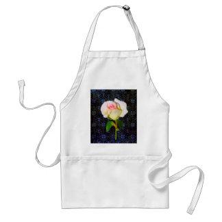 A Rose Unfolding - Black Damask Adult Apron