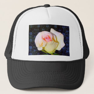 A Rose Unfolding - Black Damask Trucker Hat