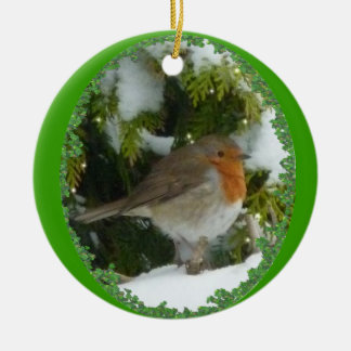 A Round Robin Christmas Decoration Round Ceramic Decoration