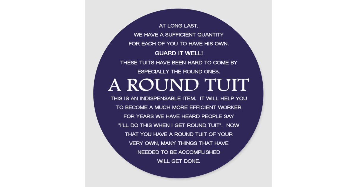 A round tuit classic round sticker zazzle com