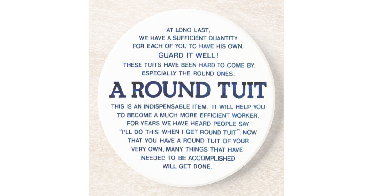 A round tuit drink coaster zazzle com