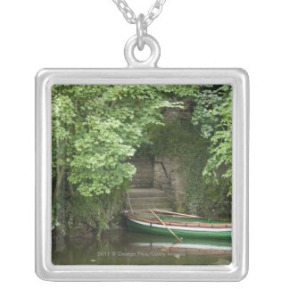 A Row Boat Roped At Some Stairs Along The Shore Square Pendant Necklace