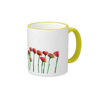 A row of beautiful red wildflowers ringer mug