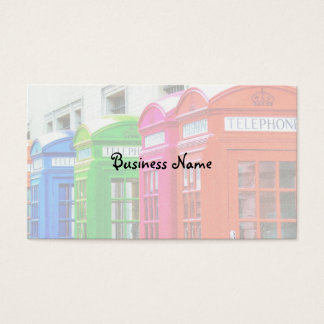 A Row of Brightly Colored Telephone Boxes Business Card