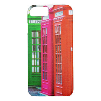 A Row of Brightly Colored Telephone Boxes iPhone 7 Case
