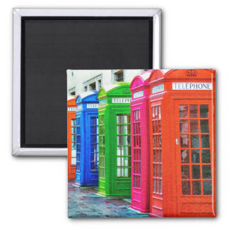 A Row of Brightly Colored Telephone Boxes 2 Inch Square Magnet