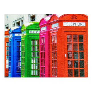A Row of Brightly Colored Telephone Boxes Postcard