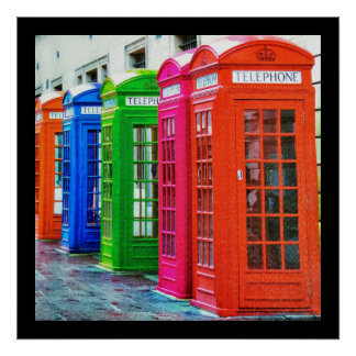 A Row of Brightly Colored Telephone Boxes Poster