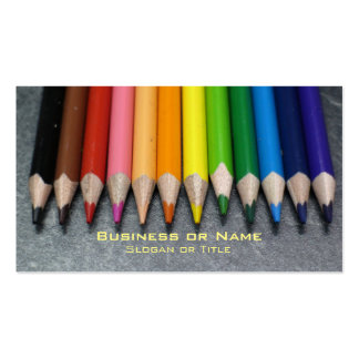 A Row of Colored Pencils. Business Card