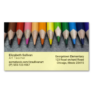A Row of Colored Pencils. Business Card Magnet