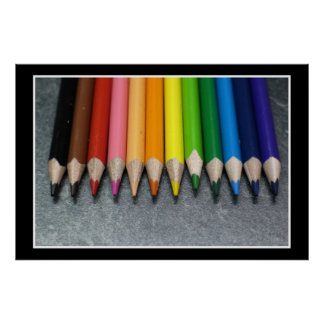 A Row of Colored Pencils. Poster