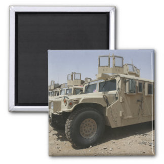 A row of humvees from Task Force Military Polic 2 Inch Square Magnet