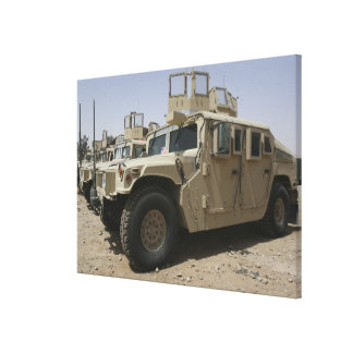 A row of humvees from Task Force Military Polic Canvas Print