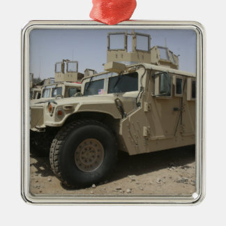 A row of humvees from Task Force Military Polic Metal Ornament
