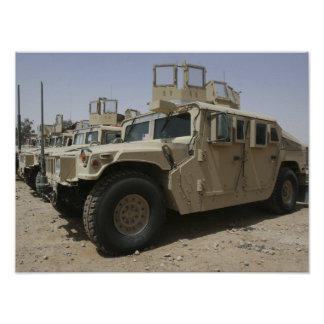 A row of humvees from Task Force Military Polic Poster
