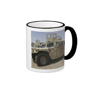 A row of humvees from Task Force Military Polic Ringer Mug