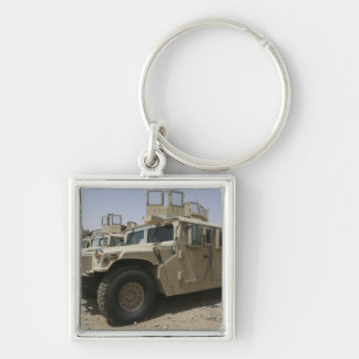 A row of humvees from Task Force Military Polic Silver-Colored Square Keychain