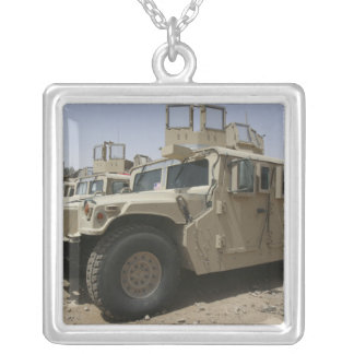 A row of humvees from Task Force Military Polic Silver Plated Necklace