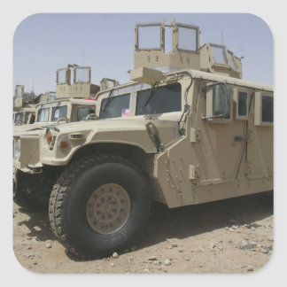 A row of humvees from Task Force Military Polic Square Sticker