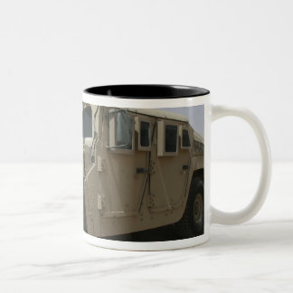 A row of humvees from Task Force Military Polic Two-Tone Coffee Mug
