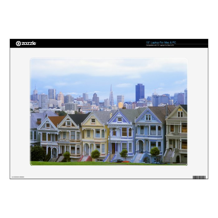 "A row of Victorian homes Decal For 15"" Laptop"