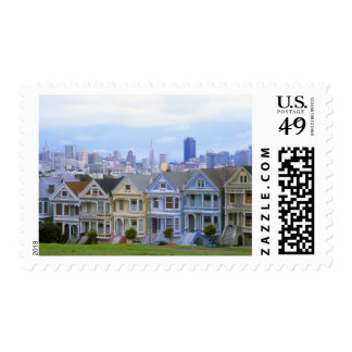 A row of Victorian homes Postage