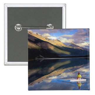 A rower on Banff Lake in the Canada MR) 2 Inch Square Button