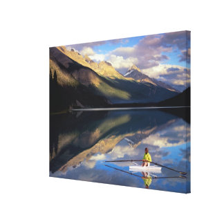 A rower on Banff Lake in the Canada MR) Canvas Print