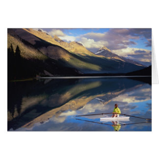 A rower on Banff Lake in the Canada MR) Greeting Card