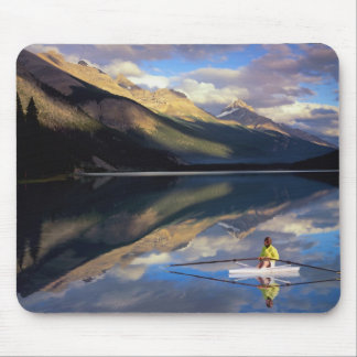 A rower on Banff Lake in the Canada MR) Mouse Pad