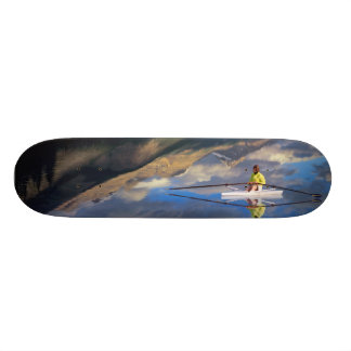 A rower on Banff Lake in the Canada MR) Skateboard Deck