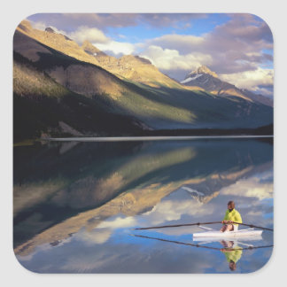 A rower on Banff Lake in the Canada MR Stickers