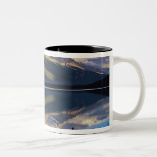 A rower on Banff Lake in the Canada MR) Two-Tone Coffee Mug