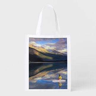 A rower on Banff Lake in the Canada MR) Reusable Grocery Bags