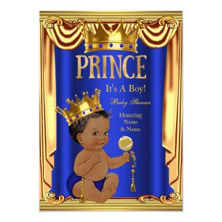 A Royal Blue Prince Baby Shower Gold Boy Ethnic Card