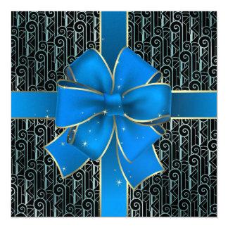 A Royally Elegant Blue Bow Art Deco Invitation