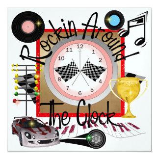 "A Royally Rockin' Racing Party - SRF 5.25"" Square Invitation Card"